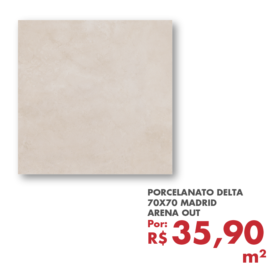 PORCELANATO DELTA 70X70 MADRID ARENA OUT