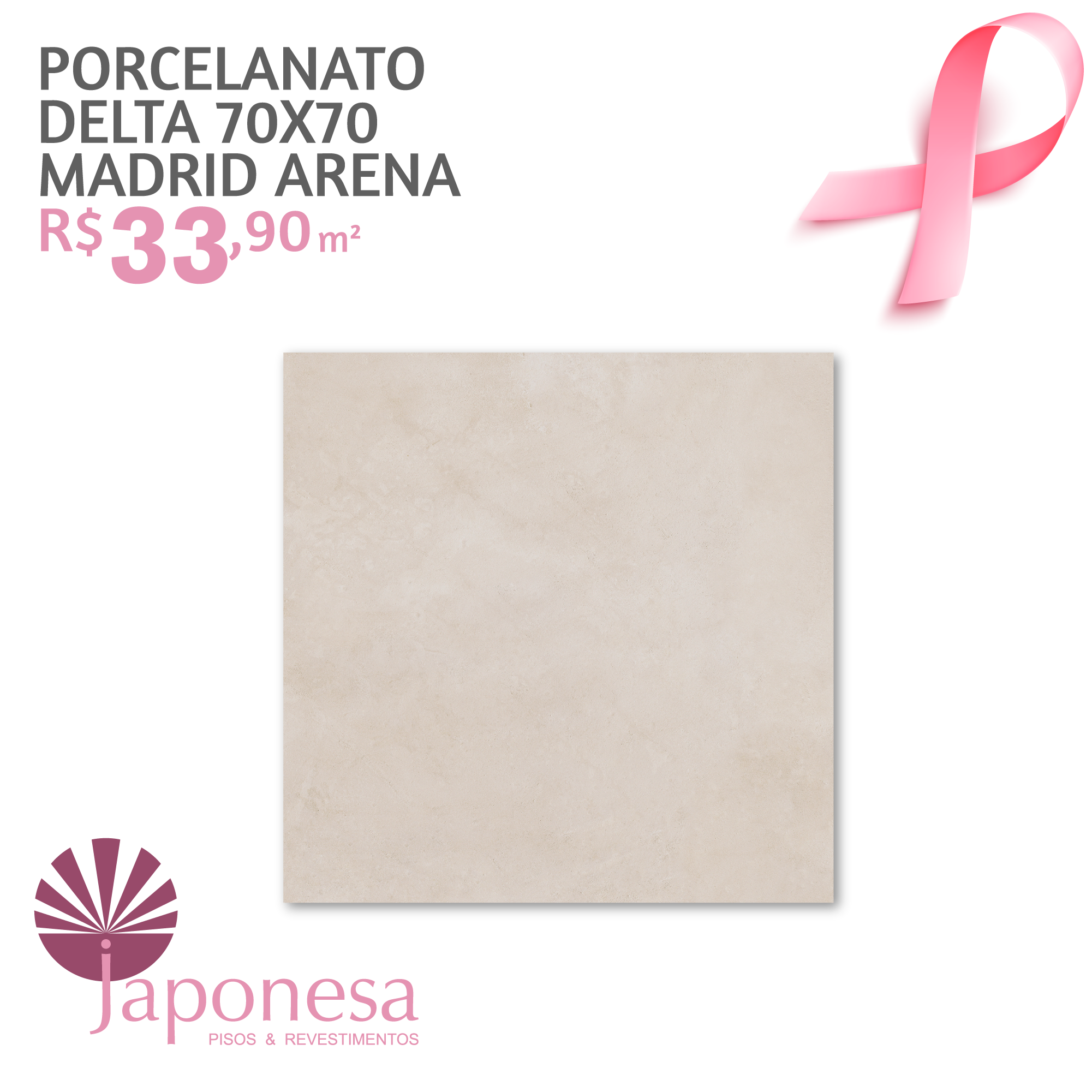 Porcelanato Delta 70×70 Madrid Arena
