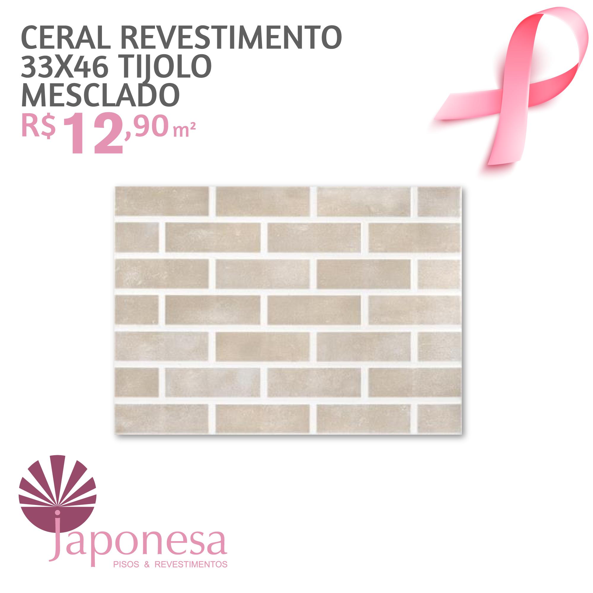 Ceral Revestimento 33×46 Tijolo Mesclado