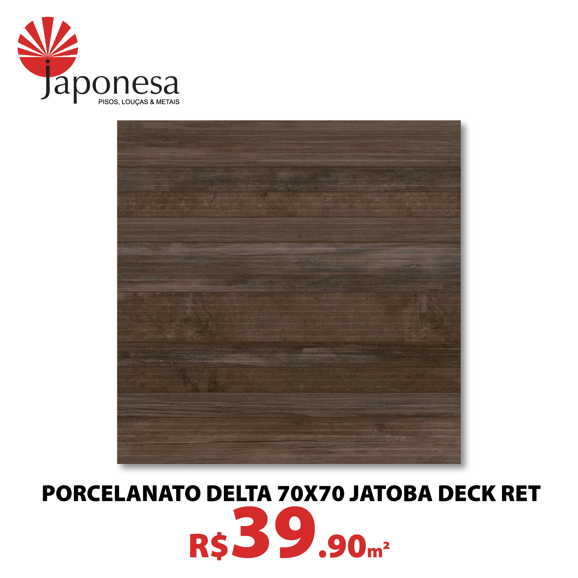 Porcelanato Delta 70×70 Jatoba Deck Ret