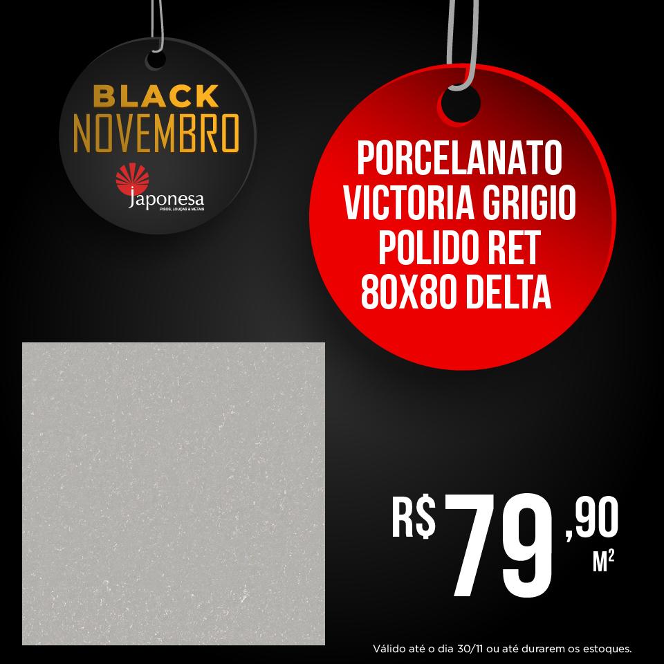 PORCELANATO VICTORIA GRIGIO POLIDO RET 80X80 DELTA