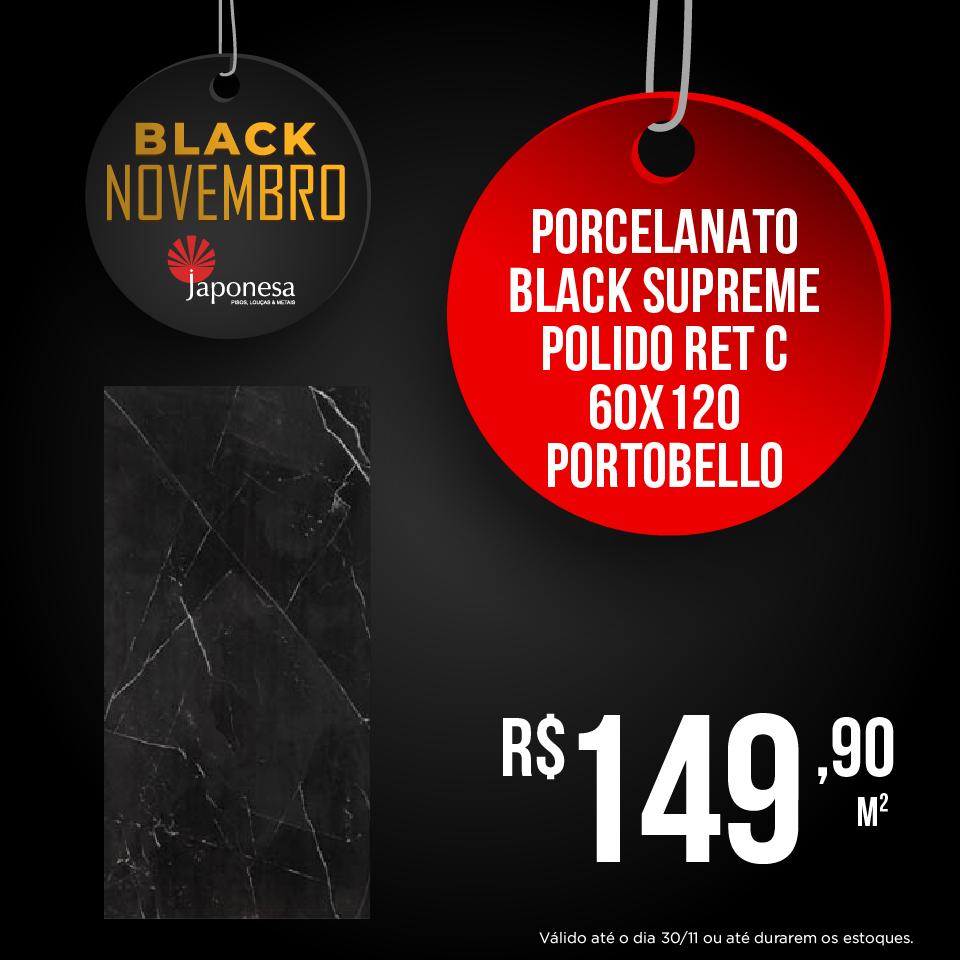 PORCELANATO BLACK SUPREME POLIDO RET C 60X120 PORTOBELLO