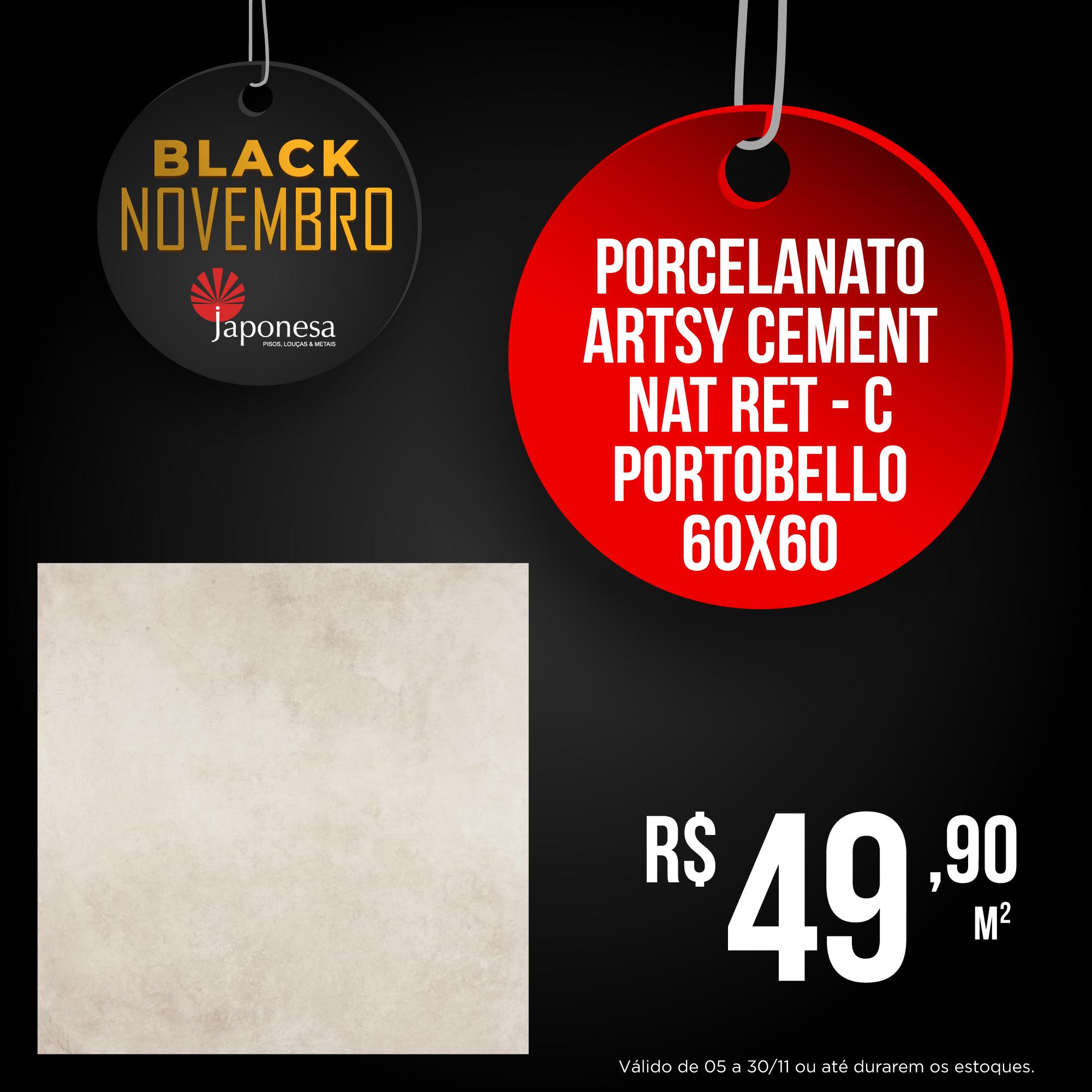PORCELANATO ARTSY CEMENT NAT RET – C PORTOBELLO 60X60