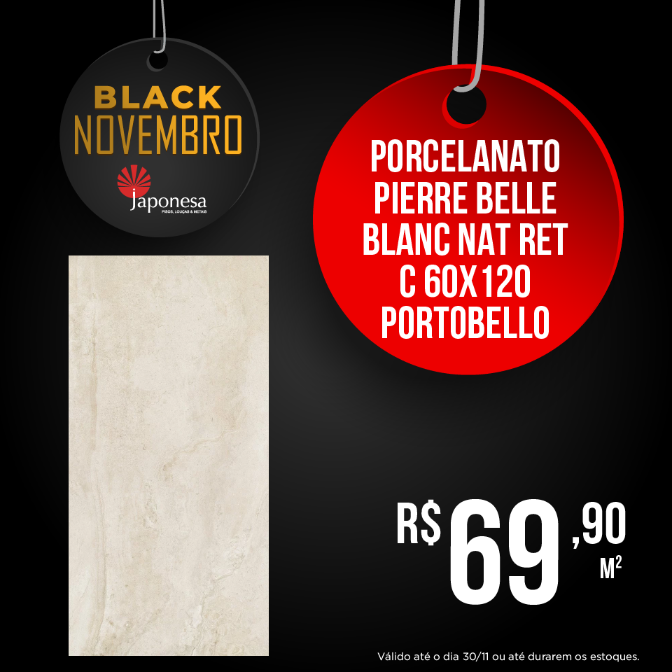 PORCELANATO PIERRE BELLE BLANC NAT RET C 60X120 PORTOBELLO