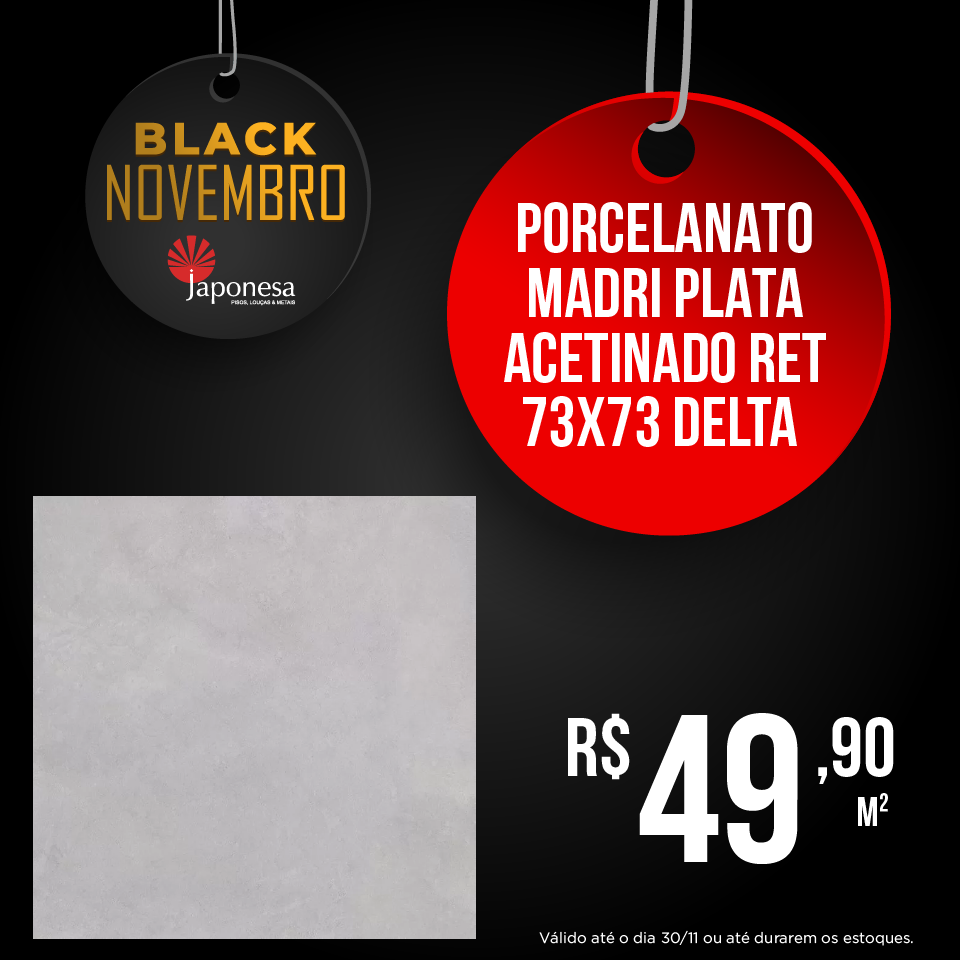 PORCELANATO MADRI PLATA ACETINADO RET 73X73 DELTA