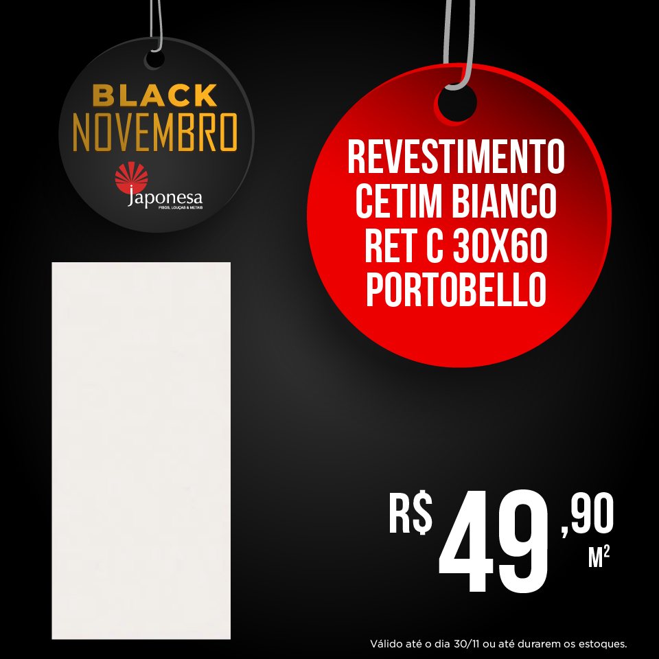 REVESTIMENTO CETIM BIANCO RET C 30X60 PORTOBELLO