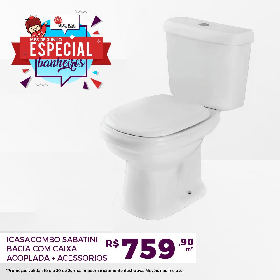 ICASA COMBO SABATINI BACIA COM CAIXA ACOPLADA + ACESSORIOS