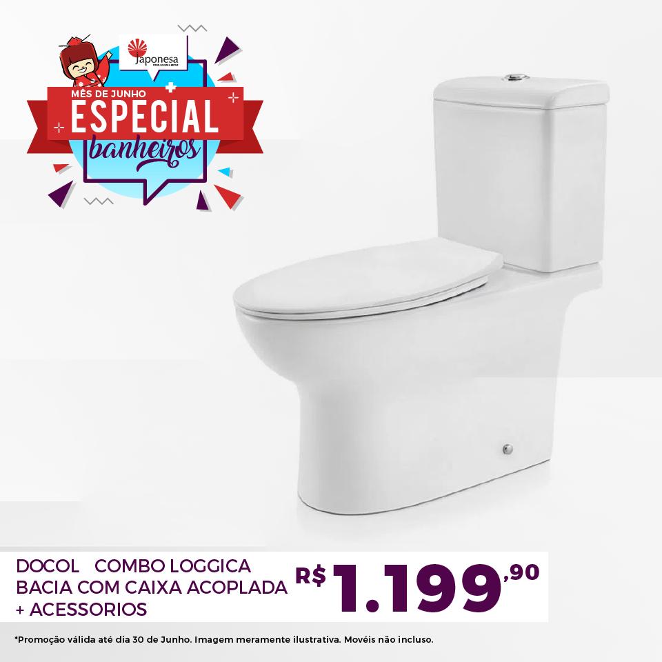 DOCOL COMBO LOGGICA BACIA COM CAIXA ACOPLADA + ACESSORIOS