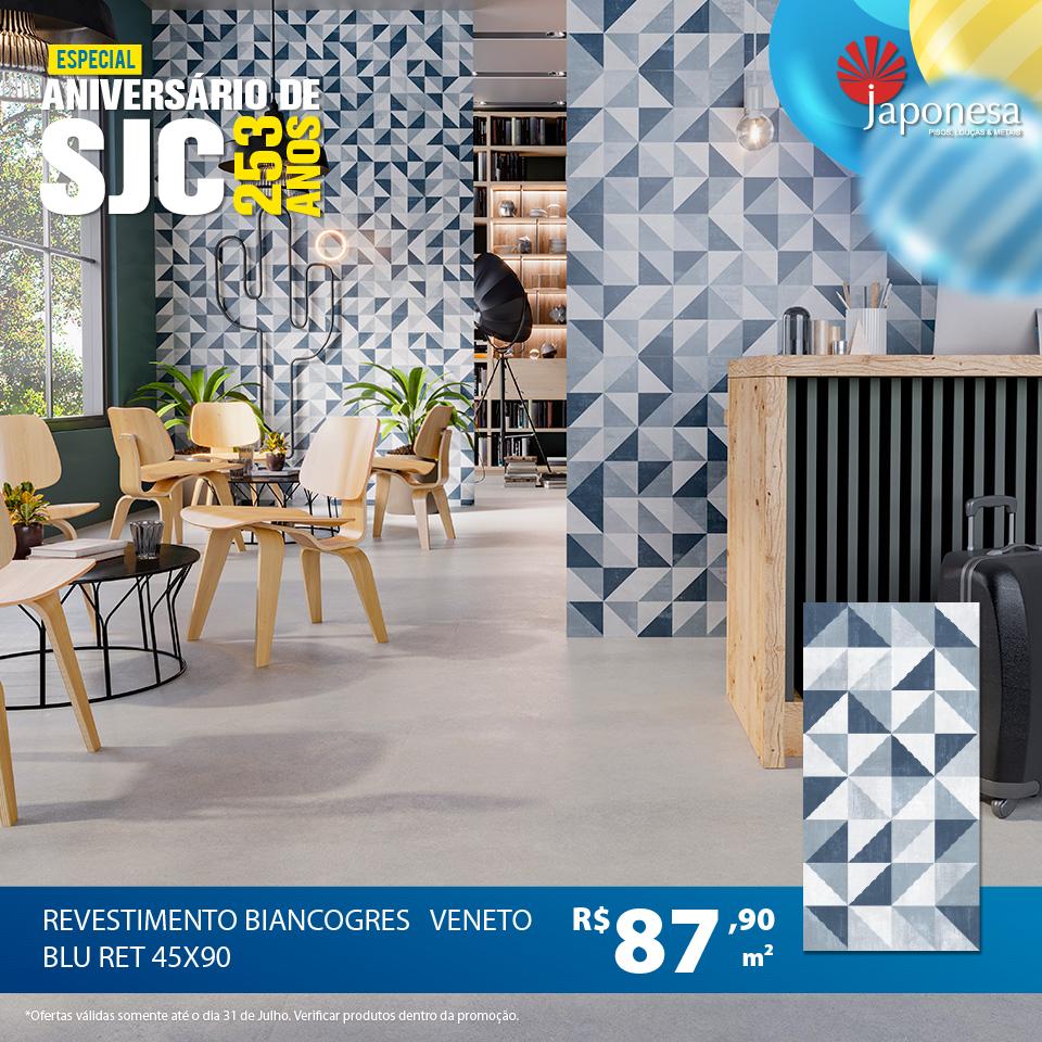 REVESTIMENTO BIANCOGRES VENETO BLU RET 45X90